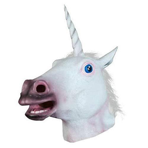 ANBOO Halloween Mask,Halloween Unicorn Horse Head Cosplay Costume Party Latex Prop Animal Masks (As Show) -