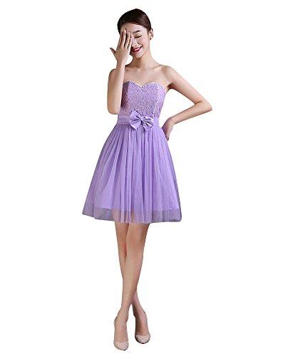 Beauty-Emily Mini 4estilos elástica acolchada de dama Homecoming vestido Purple A