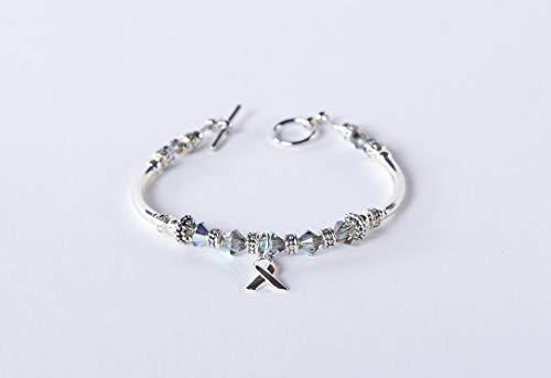 (Brain Cancer and Parkinson's Bracelet. Silver Grey ribbon charm awareness for Diabetes, Brain Tumors, Asthma, Sciatic Pain, Dyslexia. #01)