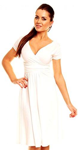 Zeta Ville - Women's - Wrap V-neck Flare Summer Dress - Short Sleeves - 108z (Off White, 8)