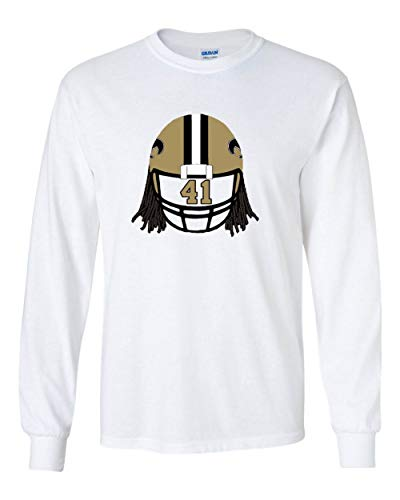 (Prospect Shirts Long Sleeve White New Orleans Kamara Helmet T-Shirt Adult)
