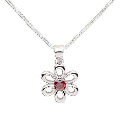 Girls Sterling Silver Daisy Simulated January Birthstone Necklace for Children