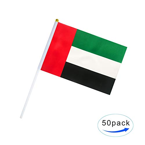 (Kind Girl Hand Held UAE Flag United Arab Emirates Flag Stick Flag Small Mini Flag 50 Pack Round Top National Country Flags,Party Decorations Supplies for Parades,World Cup,Sports Events,Celebration)
