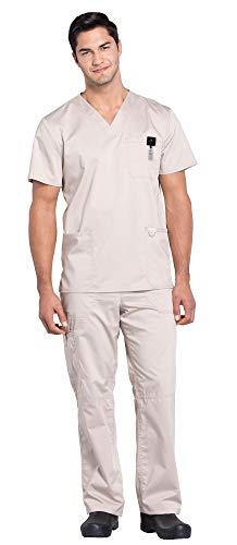 Cherokee Workwear Revolution Men's Medical Uniforms Scrub Set Bundle - WW670 V-Neck Top & WW140 Drawstring Pants & MS Badge Reel (Khaki - Medium/Medium)