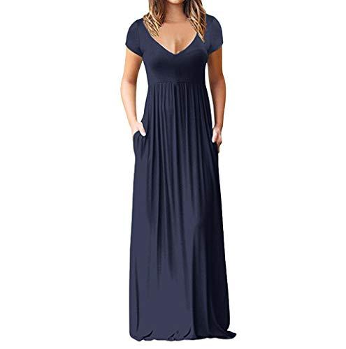 Women's Dress, JHKUNO V-Neck Waist Long Flowy Beach Maxi Dress Retro Slim Ruched Skinny Dress Floor-Length Bridesmaid Dress -
