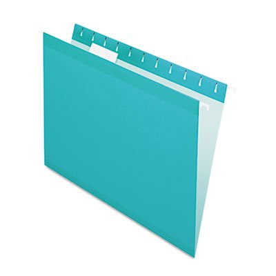 Reinforced Hanging Folders, 1/5 Tab, Letter, Aqua, 25/Box, Sold as 25 Each - Pendaflex Colored Hanging