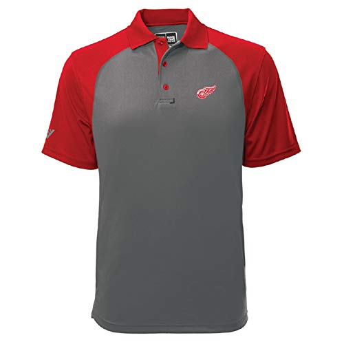 - Levelwear NHL Detroit Red Wings Mens Strike Insignia Polo, Pebble/Flame Red, Large