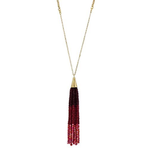 Rosemarie Collections Women's Ombre Beaded Tassel Extra Long Necklace (Red)