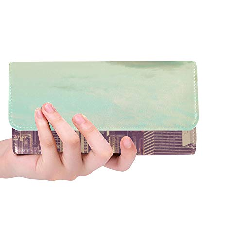 Unique Custom New York City Manhattan With Vintage Tone Women Trifold Wallet Long Purse Credit Card Holder Case Handbag ()