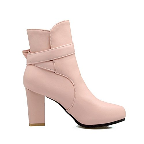 XZ Autumn and Winter High Heels Thick Heel Martin Boots Short Boots Pink kb4IJiN