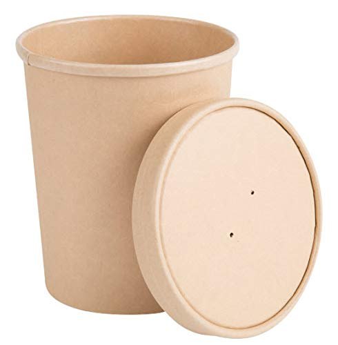 - 32oz. Disposable Paper Food Storage & Freezer Containers with Vented Lids, Pack of 25 Biodegradable, Compostable Quart Size Pails Great for Soups, Ice Cream, 'to Go' Lunches. Kraft Brown