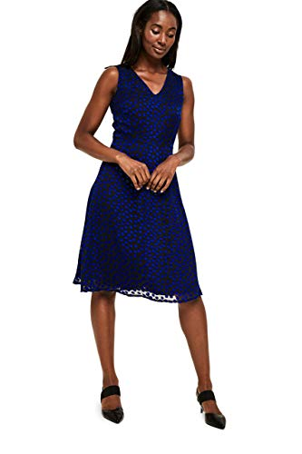 Long Tall Sally Tall Womens Flocked Spot Fit and Flare Dress in Blue ()