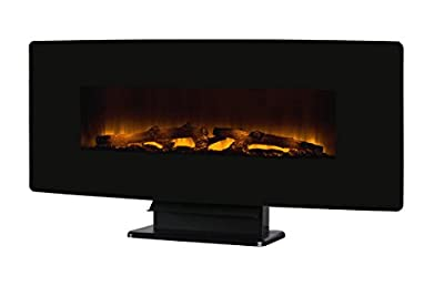"Muskoka 42"" Curved Front Wall Mount Electric Fireplace-Black Glass"