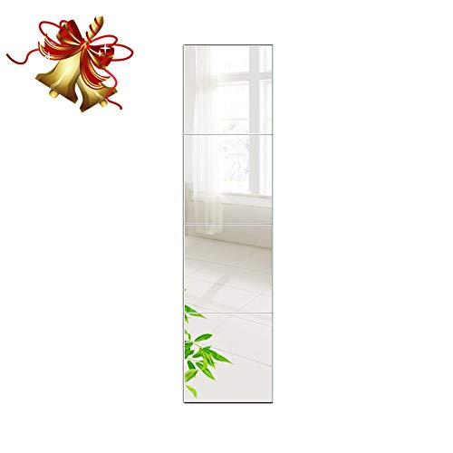 Beauty4U Full Length Tall Mirror Tiles - 12 Inch x 4Pcs Frameless -