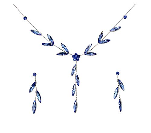 Faship Gorgeous Blue Rhinestone Crystal Floral Necklace Earrings Set - Blue