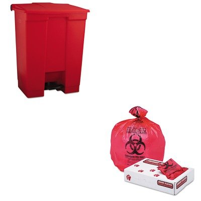 KITJAGIW2432RRCP614500RED - Value Kit - Jaguar Plastics IW2432R Red Healthcare, Infectious Waste and Infectious Can Liners, 33 Gallons (JAGIW2432R) and Rubbermaid Indoor Utility Step-On Waste Container (RCP614500RED)