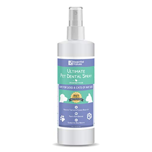 Essential Values 8 OZ Pet Dental Spray & Water Additive for Dogs and Cats - Natural & Safe Dental Care, Excellent for Bad Pet Breath | Fight Tartar, Plaque & Gum Disease - Made in USA