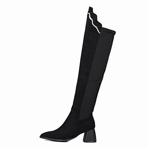 Carolbar Womens Pointed Toe Sequins Sexy Mid Heel Tall Dress Boots Black 9Lv4V