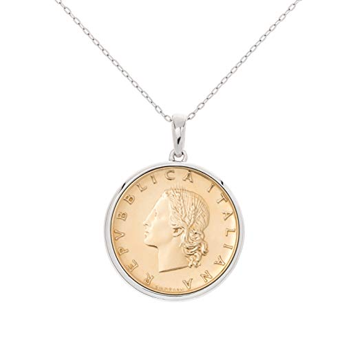 MiaBella 925 Sterling Silver Genuine Italian 20 Lira Coin Round Medallion Pendant Necklace for Women 18