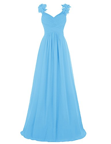 Dresstells®Vestido Ceremonia V Cuello De Gasa Con Tirantes Azul