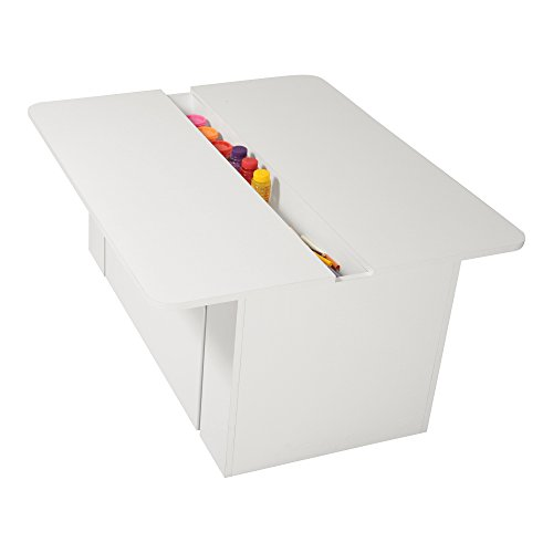 South Shore Kids Activity Table with Toy Box on Wheels, Pure White (Activity Table With Storage)