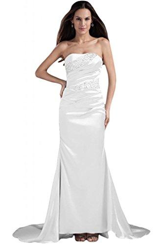 Sunvary Bianco spalline da sirena cerimonia per elegante da o sera perline senza abiti con rBAUwrqa