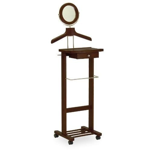Luxury Home 94155-WW Wood Valet Stand With Mirror, Drawer, Tie Hook, and Casters by Luxury Home