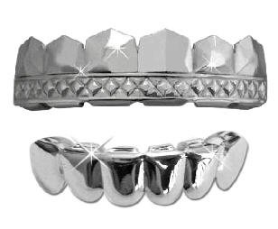 Hip Hop Platinum Silver Plated Removeable Mouth Grillz Set (Top & Bottom) T-Pain