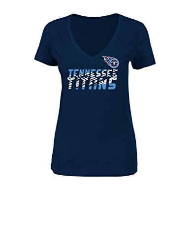NFL Tennessee Titans Women's Smash Victory Short Sleeve V-Neck Tee, Large, Navy