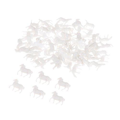 (100pcs 1:150 Mixed Stowage White Horse H-13mm Scale Figure Plastic DIY Model Farm Animal Models Toy Set White )