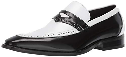 STACY ADAMS Men's Sanhurst Moc-Toe Penny Slip-on Loafer, Black/White, 10 M US Black & White Blazer