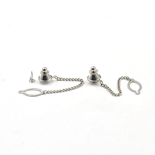 50 Pcs Tie Tack Clasps Locking Open Oval Ring Clothes Patch Badges Breastpin