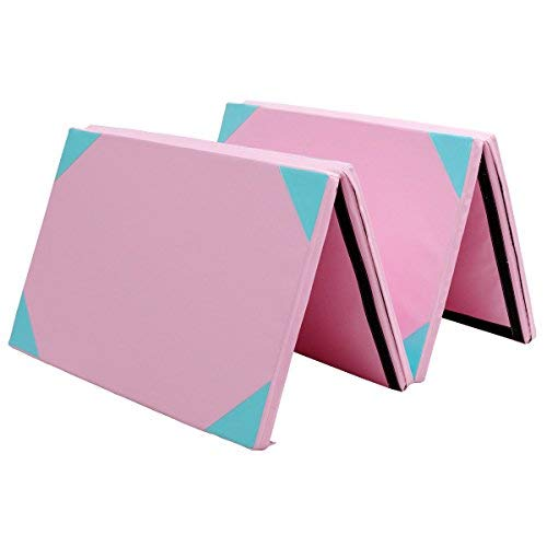 Giantex 4'x10'x2 Gymnastics Mat Thick Folding Panel for Gym Fitness with Hook & Loop Fasteners (Pink/Blue-Small Triangle)