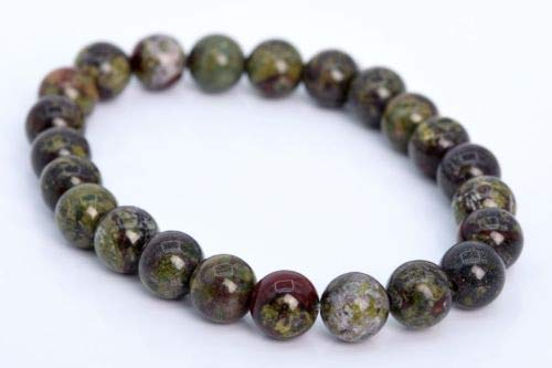 (8mm Dragon Blood Jasper Bracelet Grade Genuine Natural Round Beads 7'' Crafting Key Chain Bracelet Necklace Jewelry Accessories Pendants)