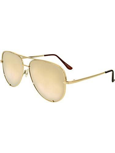 Quay Australia HIGH KEY Men's and Women's Sunglasses Classic Oversized Aviator - Gold