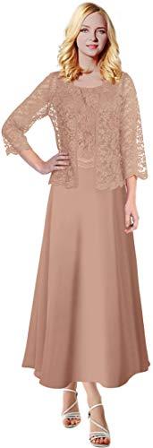 MenaliaDress Long Chiffon Two Piece Set Mother of Groom Dress with Lace Jacket M108LF Blush US8