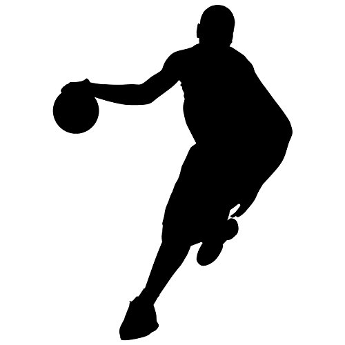 19 Wall Sticker - Basketball Wall Decal Sticker 19 - Decal Stickers and Mural for Kids Boys Girls Room and Bedroom. Sport Vinyl Decor Wall Art for Home Decor and Decoration - Basketball Player Silhouette Mural