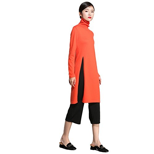 Venustar 2017 new design Women's Cashmere Sweater,side open hem long cashmere dress for women (XL, Orange) ()