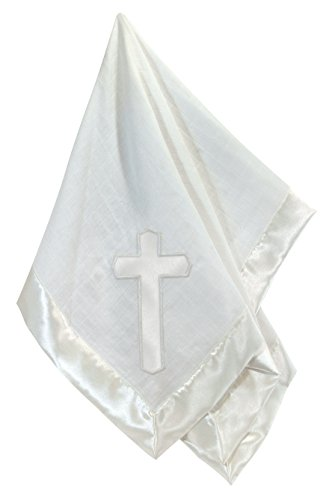 Stephan Baby Satin-Trimmed Cotton Muslin Christening Swaddle Blanket with Embroidered Cross, White