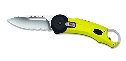 (Buck Knives 0750YWX REDPOINT Yellow Serrated Folding Knife)