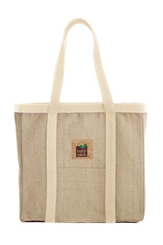 Herbsack Linda Organic Hemp Canvas Tote Bag Natural Trim Heavy Duty Extra Large