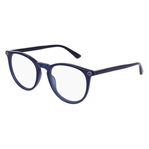 Gucci GG 0027O 005 Blue Plastic Round Eyeglasses 50mm