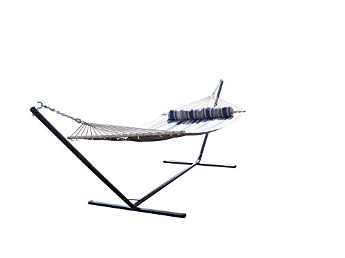 (Petra's 15 Ft. Heavy Duty Tri-Frame Texture Coated Steel Hammock Stand W/ Quality Double Quilted Bed & Pillow, 300 LB. Capacity, 15 Foot.)