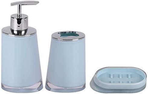 Fornord Plastic Bathroom Set Soap Dispenser Tooth Brush Holder Soap Dish Pastel Blue
