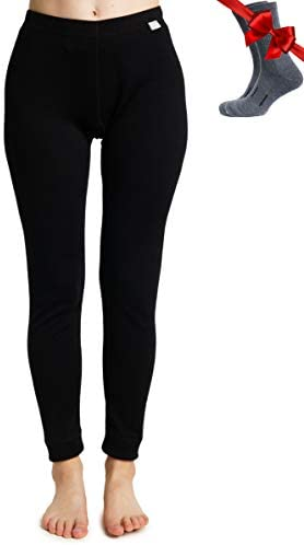 Merino.tech Merino Wool Base Layer Womens Pants 100% Merino Wool Leggings Midweight Thermal Underwear Bottoms + Wool Socks