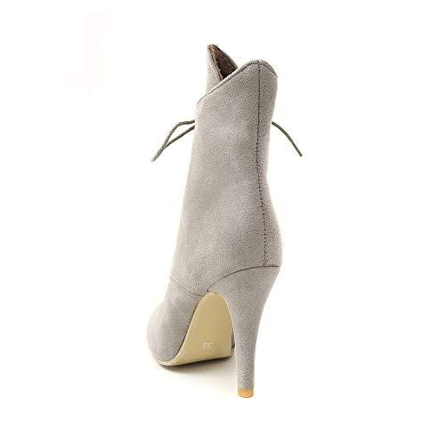 Talons Mode À Gris Fins Léopard La Daim Pointu Chaussures Bottes Imprimées Femme Bout En azqUnRaEwx