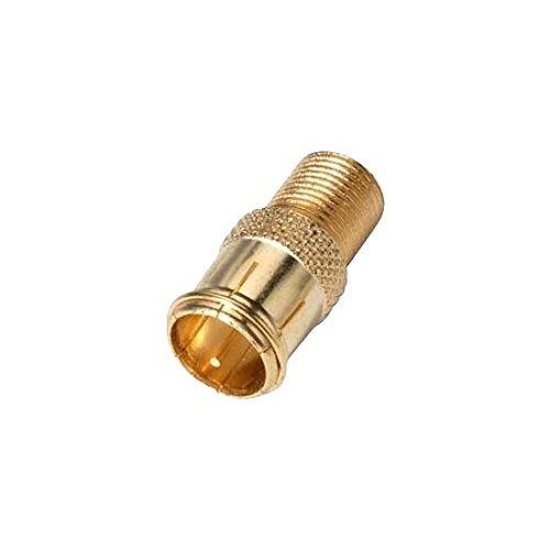 Pushon F Quick Adapter 25 Pack Gold Plug Connector Male to Female RG6 Coaxial Cable CM-3243 Quick Adapter Cable Signal Disconnect TV Video Component Connection, Sold as 25 Pack,