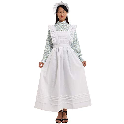 GRACEART Women Pilgrim Dress Victorian Maid Costume with Apron 100% Cotton (Green Floral Medium)]()
