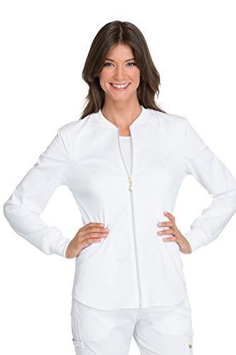 (Cherokee Women's Luxe Sport Zip Front Warm-up Jacket, White, X-Large)