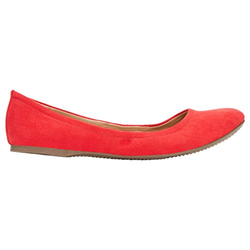Rohb by Joyce Azria Corsica Round Toe Ballerina Flat (Red) Size 9